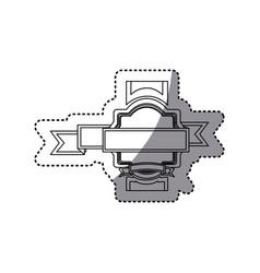 sticker silhouette heraldic border with ribbon vector image