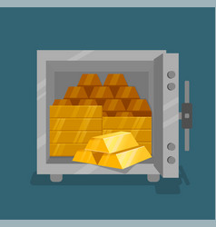 Opened safe with gold flat style vector