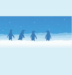 landscape of penguin on snow silhouette vector image