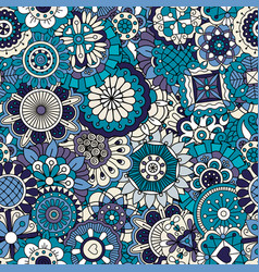 Blue floral ornamental pattern vector