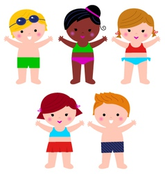 Cute summer kids in swimsuit set isolated on white vector