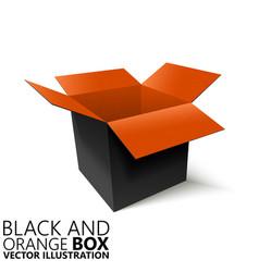Black and orange open box 3d vector