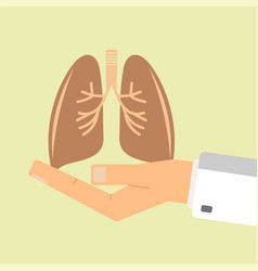 doctor hand holding human lungs healthcare vector image