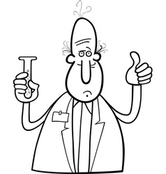 Scientist with vial coloring page vector