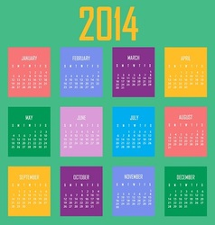 2014 calendar in colorful cubes vector