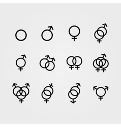 Male and female sexual orientation icons vector
