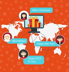 Social media and christmas congratulation concept vector