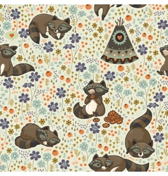 Seamless pattern with raccoons vector