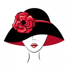 Woman in vintage hat vector