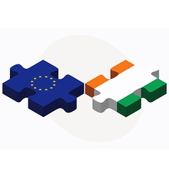 European union and cote divoire flags in puzzle vector
