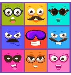 Cartoon faces with emotions and mustache vector
