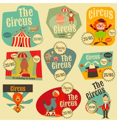 Circus entertainment labels retro set vector