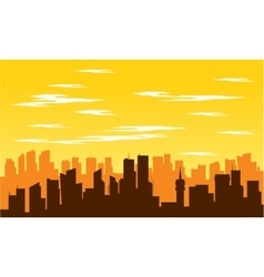 Silhouette of big city at noon vector