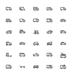Vehicles line icons 2 vector