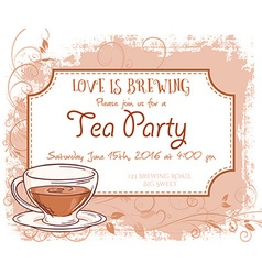 Hand drawn tea party invitation card vintage frame vector