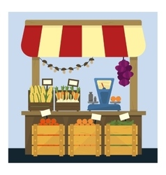 Market stand with fresh vegetables vector
