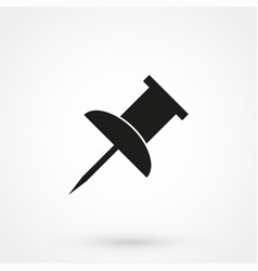 Push pin icon black on white background vector