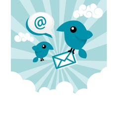 Blue email birds vector