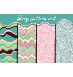 Colorful cartoon waves seamless pattern set vector