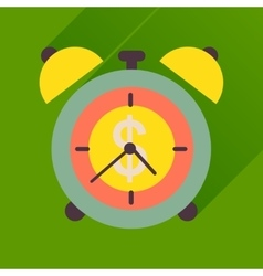 Flat icon with long shadow alarm clock money vector