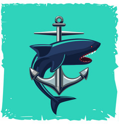 Anchor and shark isolated cartoon vector