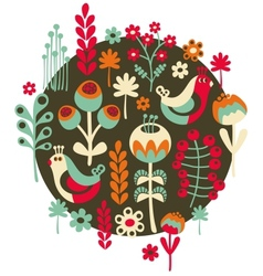 Birds flowers and other nature vector image