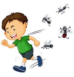 Boy get bitten by mosquitos vector