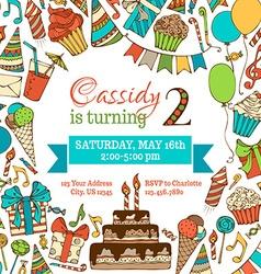Bright birthday invitation card vector