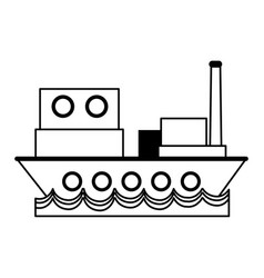 Cargo ship sideview icon image vector