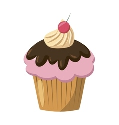 Cherry cupcake icon cartoon style vector image vector image
