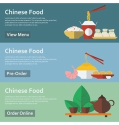 Chinese food web banners in flat style vector