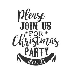 Christmas party black and white invitation card vector