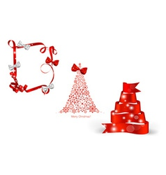 Christmas tree and ribbon vector image vector image