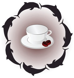 cup of coffee with dolphin art vector image
