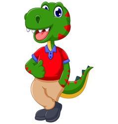 Cute dinosaur cartoon thumb up vector
