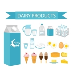 Dairy products icon set flat style Milk vector image