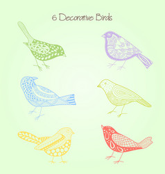 decorative birds set of six with elements vector image