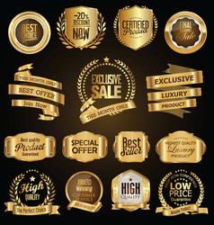 Golden badges and labels with golden ribbon vector