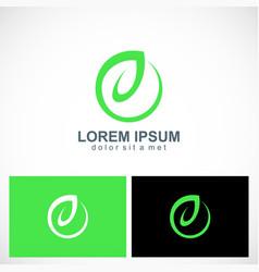 green leaf letter e logo vector image
