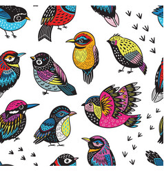 hand drawn tropical bird pattern vector image