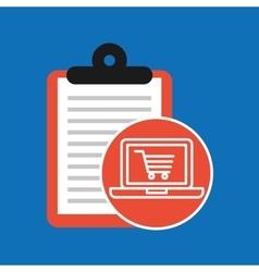 Hand holding shop online cart vector