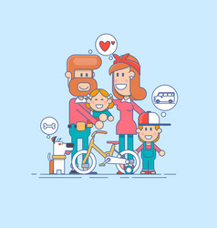 happy family father mother and two children vector image vector image
