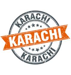 Karachi red round grunge vintage ribbon stamp vector