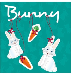 Label of bunny accesories issolated over pattern o vector
