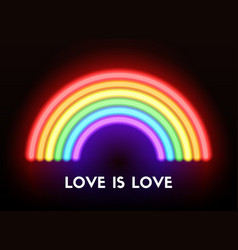love is love neon rainbow vector image vector image