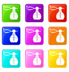 Perfume bottle with vaporizer set 9 vector