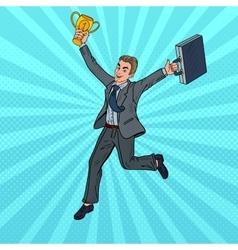 Pop art businessman running with golden winner cup vector