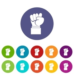 Raised up clenched male fist set icons vector
