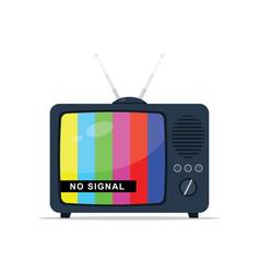 retro tv with antenna no signal vector image vector image