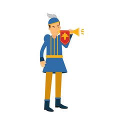 royal herald medieval character with trumpet vector image vector image